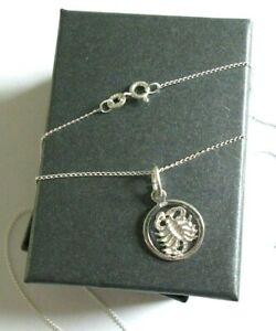 Stirling Silver *Scorpio* Star sign Pendant Necklace  *in a gift box*