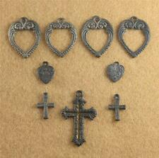 Lot 9 Cracker Jack Charm Prize Heart Cross Open Valentine's Metal