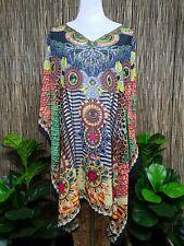 Plus Size Sheer Chiffon Embellished Kaftan  Digital Printed Size 14-16-18-20-22