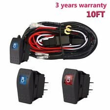 12V Wiring Harness Kit With LED High Beam Laser Rocker Switch+Relay for 2 Lights
