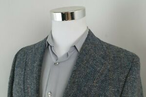 Harris Tweed Gray Multicolor Wool 2 Button Sport Coat Blazer Jacket Mens 38 L