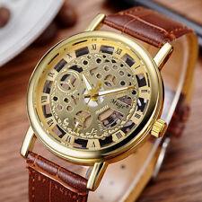 Luxury Mens Steampunk Skeleton Stainless Steel Mechanical Sport Wrist Watch HOT