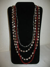 3 Vintage Necklaces Silver-tone Red Glass Seeds Beads