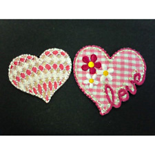 Pink Love Hearts Glitter Flowers Gingham Iron On Craft Motif Stylish Patch
