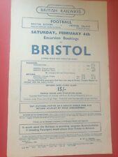 More details for 1949:bristol rovers v crystal palace division 3 football railway handbill~rare
