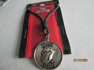 ROLLING STONES TOUR NECKLACE,  new on card / leather.  Last one
