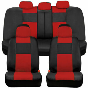 BDK Faux Leather Car Seat Covers - Front & Rear Full Set Two-Tone in Black & Red