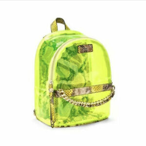NWT ! Victoria's Secret Clear Neon Snake Print Mini Small City Backpack