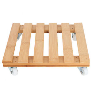 Bamboo Movable Potted Plant Flower Shelf Storage Rack Tray With Wheels For