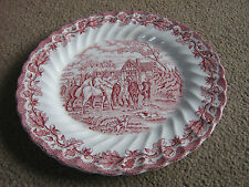 PINK/WHITE DINNER SIZE PLATE BY  MYOTTS, COUNTRY LIFE SERIES-STAFFORDSHIRE-LUVLY