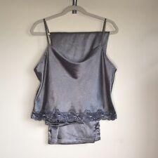 Victoria Secret Pajama Lingerie Set Crop Top Lace Detail & Pant Bottoms Gray Dot