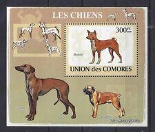 Art Postage Stamp South African Basenji Dog Sloughi Boerboel Comores 2009 Ss Mnh