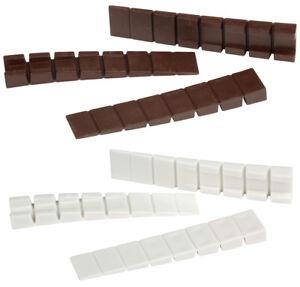 10-50Stk Möbelkeile/Unterlegkeile | Kunststoff | 7Soll-Bruchstellen | Weiß/Braun