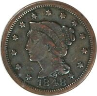 1848, 1c, Large Cent - Braided Hair - Scratched-Cleaned - ANACS VF 20 Details