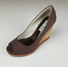 Steve Madden Women's Chocolate Brown Fabric & Wood Open Toe Wedges Size US 6.5M