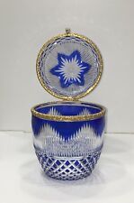 Baccarat French Cut Glass Cobalt Blue to Clear Egg Jewelry Casket Box