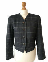Vintage St Michael Blue Grey Jacket 100% Wool Cropped Jacket Blazer 12 Peaky M&S