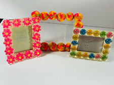 Lot (3) 90s Novelty Fun Picture Frame Smiley Face Flowers