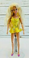 """MATTEL BARBIE Blonde Hair Articulated Elbows Knees Yellow Dress 12"""" Tall Used"""