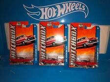 LOT OF (3) 1955 CADILLAC FLEETWOOD MATCHBOX DIECAST,RED,60TH ANNIVERSARY CARD!!!