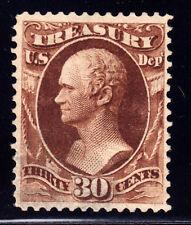 #O112 - 30 Cent TREASURY Official 1873 Hamilton, faint black cancel, deep brown