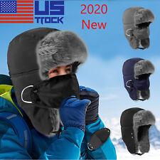 Men Warm Mask Winter Aviator Bomber Hat Trooper Ear Flap Ski Face Full Cover Cap