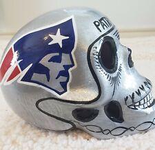 """PATRIOT Skull Helmet Ceramic Mexican Clay Figure ,Folk Art SILVER 7"""""""