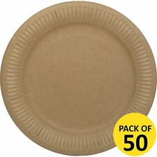 BROWN KRAFT PAPER VINTAGE SHABBY CHIC PARTY LARGE LUNCHEON PLATES PACK OF 50
