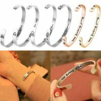 Letter Love  Engraved Silver Stainless Steel Cuff Bangle Bracelet Jewelry Gifts
