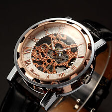 Classic Mens Rose Gold Skeleton Leather Band Sports Army Mechanical Wrist Watch