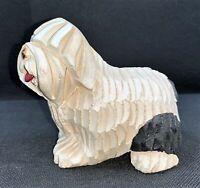"Artesania Rinconada Old English Sheepdog Signed #113 Figurine Uruguay 3.5"""
