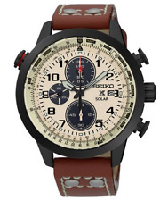 Seiko Prospex Chronograph SSC425 Beige Dial Brown Leather Band Men's Watch