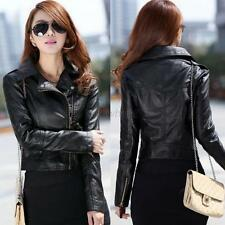 Vintage Women's Black Slim Biker Motorcycle PU Leather Jacket Zipper Short Coat
