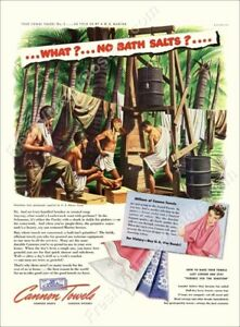 nude men soldier Marines jungle shower 1943 Cannon Towels ad new poster 24x31