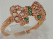 Luxury 9ct Rose Gold Ladies Emerald & Fiery Opal Vintage Style Bow Ring