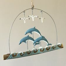 Leaping school of dolphins on driftwood.Nautical Seaside Decor shoeless joe