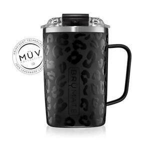 BRUMATE TODDY Mug 16 oz Leak proof Locking Lid hot or cool - Black Onyx Leopard