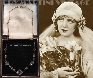VINTAGE ART DECO CZECH CLEAR CRYSTAL NECKLACE ROLLED GOLD BRIDAL BEAUTIFUL GIFT