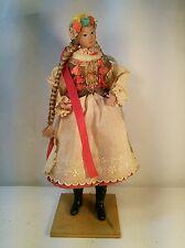 "Vtg BEAUTIFUL Clothe Face body German Czech Doll Wood Stand Bride? Dress 9"""