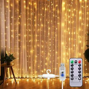 300 LED Curtain Fairy Lights USB String Hanging Wall Lights Wedding Party Remote