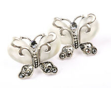 with Faux Marcasite Silver Tone Butterfly Earrings