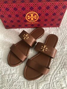 Tory Burch Everly Two Band Flat Leather Sandal Royal Tan Women Size 9 New