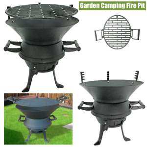 GGARDEN CAST IRON PORTABLE FIRE PIT CHARCOAL BBQ GRILL PATIO CAMPING BARBECUE