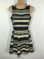 WOMENS OASIS BLACK BEIGE STRIPED SLEEVELESS FIT & FLARE SMART SHEATH DRESS UK 8