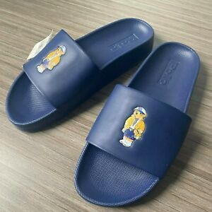 Polo Ralph Lauren Cayson Bear Pool Slides Men's Size 9 Navy Sandals