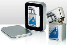 VW Volkswagen CamperVan Windproof Cigarette Petrol Lighter blue in Gift Box