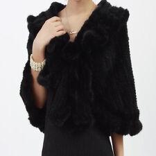100% Real Genuine Knit Mink Fur Stole Cape Shawl Scarf Coat Wrap Coffee Fashion