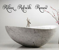 RELAX REFRESH RENEW VINYL WALL DECAL LETTERING BATH LETTERING WORDS DECOR