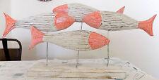 Decorazione scultura Pesci rosa bianchi cm50x26 mare arredo marino piranha pesce
