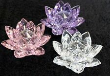 Crystal Lotus Flower Ornament, Satin Lined Gift Box 10cm Clear, Pink or Purple